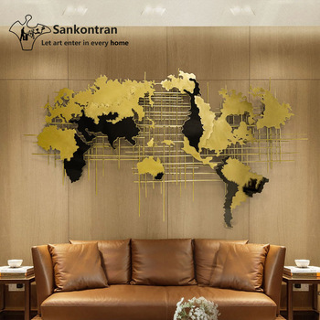 Handmade 3d Large Metal Wall Art Decal World Map For Living Room