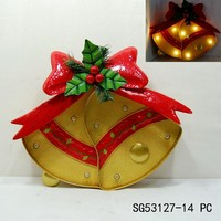 metal jingle bell shaped christmas ornaments with led light