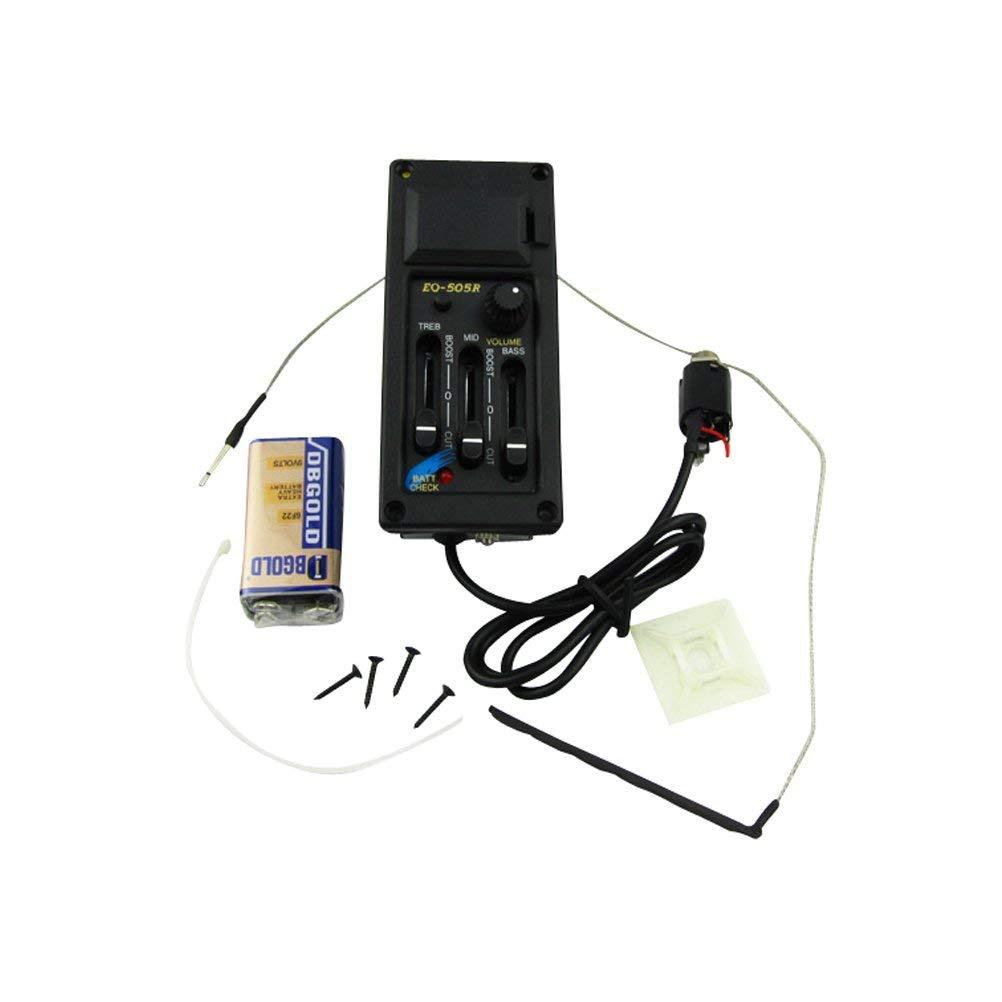 EQ-505R Звукосниматель для акустической гитары с 3х-полосным эквалайзером (активный). Регулировка гр