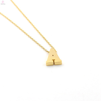Custom Letter Stainless Steel Gold 26 Alphabet Charm Pendant Initial Necklace