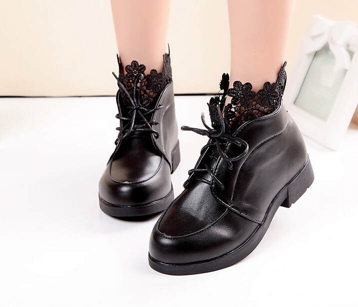 Children Black Lace Boots Girls Kids Princess Shoes Fashion Leather Ankle Boots 2015 Models Girls Princess Lace-up Shoes 860e