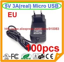 100 PCS High quality IC EU 5V 3A Micro USB Charger Power Supply for Tablet PC Google Nexus 7 Nexus 10 Smartphone Micro USB