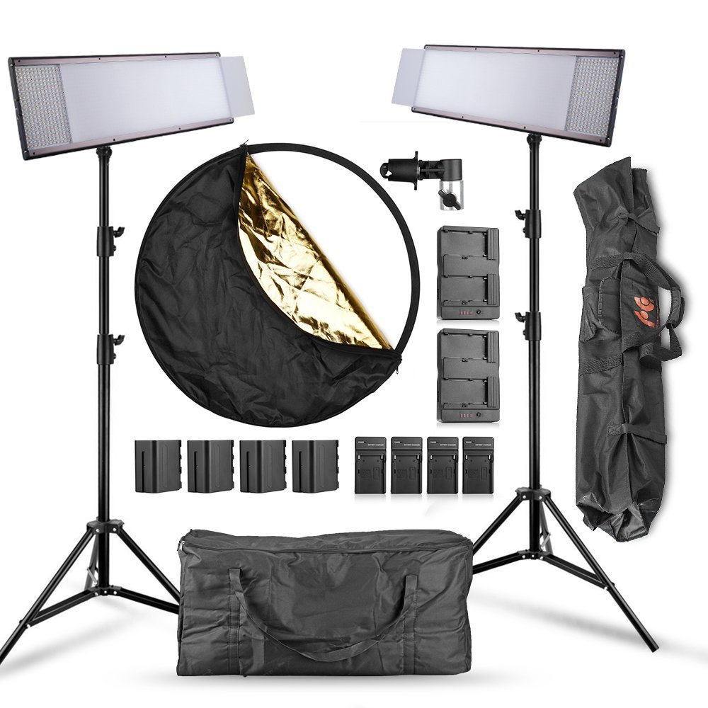 Pergear Lightmate Pro CRI 96+ Bi-color Dimmable 1440 Led Video Light Panel with 6600mAh Battery Pack, 2.4M/8ft Light Stand, Light Reflector and Carrying Bag