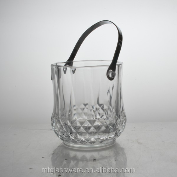 FDA Grade, Eco-friendly Glass material belvedere vodka bottle ice bucket with metal handle