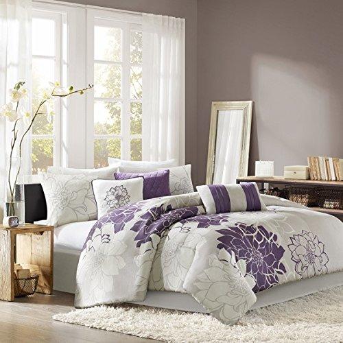 D&H 7 Piece Violet Purple Grey Stunning Floral Comforter Queen Set, Purple Printed Adult Bedding Master Bedroom Modern Stylish Bridgette Pattern Elegant Themed Traditional, Sateen Cotton