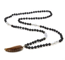 Zooying retro angel wings lava stone beaded necklace