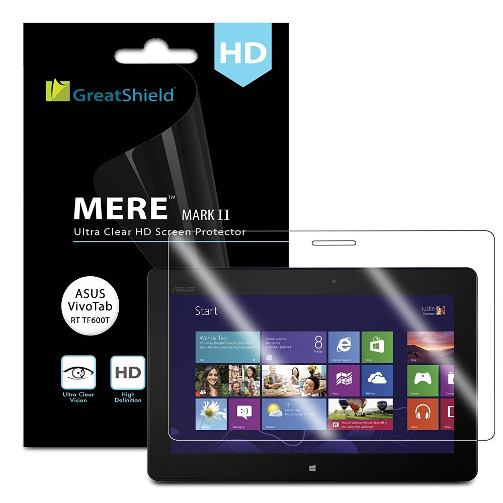 GreatShield Ultra Smooth Crystal Clear Screen Protector Film for ASUS VivoTab RT / TF600T Tablet (3 Pack)