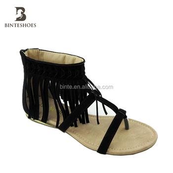 f5881009a alibaba china Tassel Leather Sandals raided Tassel Sanda Footwear Women  Benefit Tassel Ankle Cuff Flat Tribal