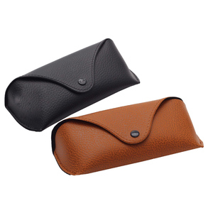 Custom Eco-friendly Black Brown PU Leather Glasses Case Unisex Compression Boxes for Sunglasses