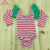 Christmas Baby Girls Ballet Leotards Red Stripe Long Sleeve Ruffle Leotard With Green Flutter