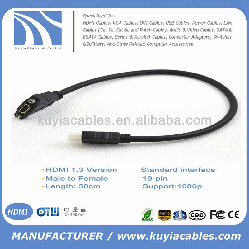50cm HDMI 1.3 Male to Female M/F Extension Cable with Ears For Blu-ray DVD HDTV LCD PS3 XBOX 1080P