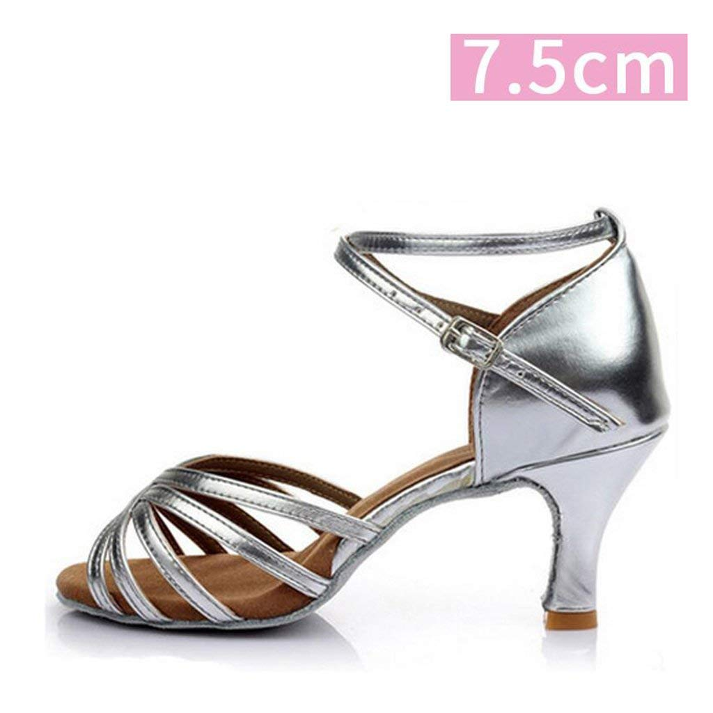 Le fu yan Women's Satin Latin Dance Shoes Salsa Performance Dance Shoes Ballroom Dance Shoes 5cm and 7cm Heel with Heel Protector (Color : Silver 7.5cm, Size : 40)