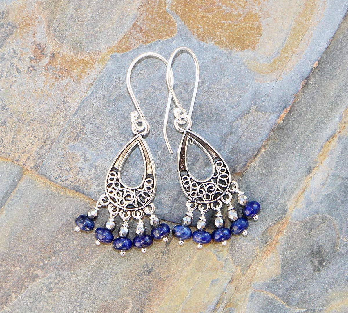 Lapis Lazuli Earrings, Blue Earrings, Chandelier Earrings, Natural Stone Earrings, Dangly Earrings, Filigree Earrings, Bohemian Earrings