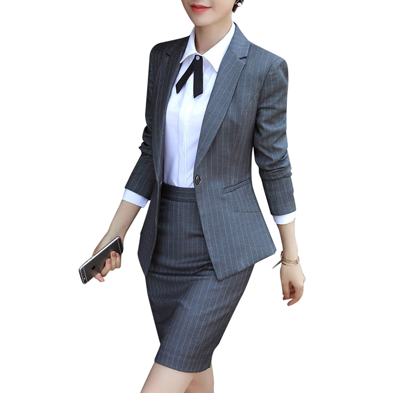 338699cd9cc Get Quotations · YUNCLOS Women s 2 Piece Business Skirt Suit Set Office  Lady Slim Fit Stripes Blazer and Skirt