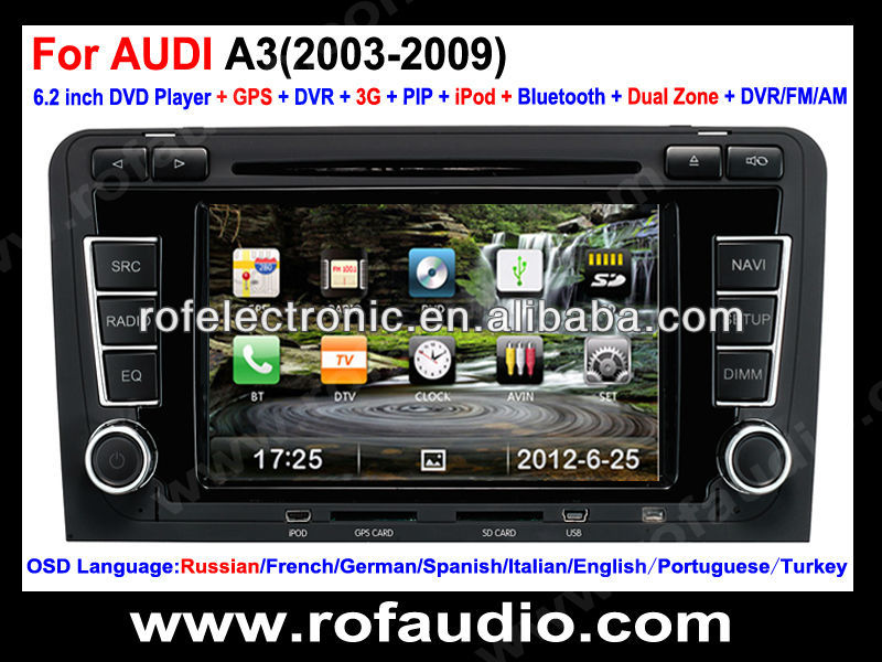 Car DVD player navigation for Audi A3 ( 2003-2009 ) with dual zone