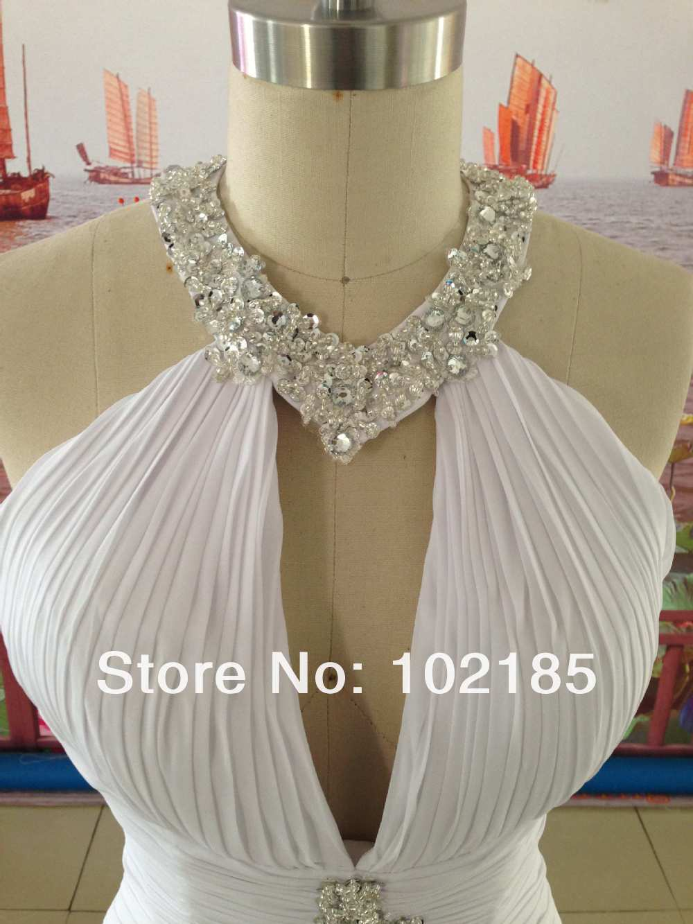2017 Actual images halter neckline sleeveless beaded wedding dress gown with train JWD006