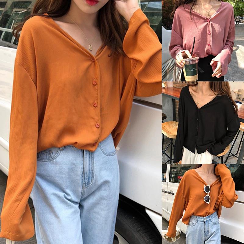 Woman Fashion Solid Shirts Women Chiffon Blouses Female Loose Tops Long Sleeve V Neck Blouses фото