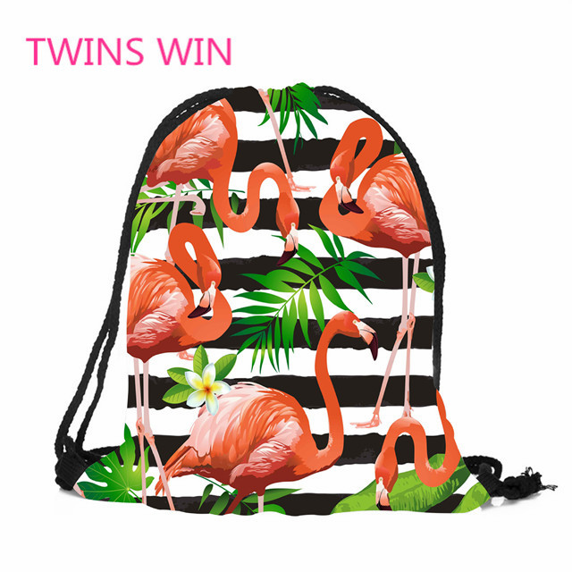 mexican Best selling Cartoon flamingos printing folding reusable mini backpack shopping bags for women  189