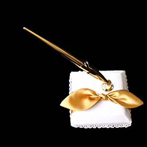 SACASUSA (TM) Gold Satin Bow Ivory Reception Pen Set Penstand for Wedding Reception Any Special Occasions