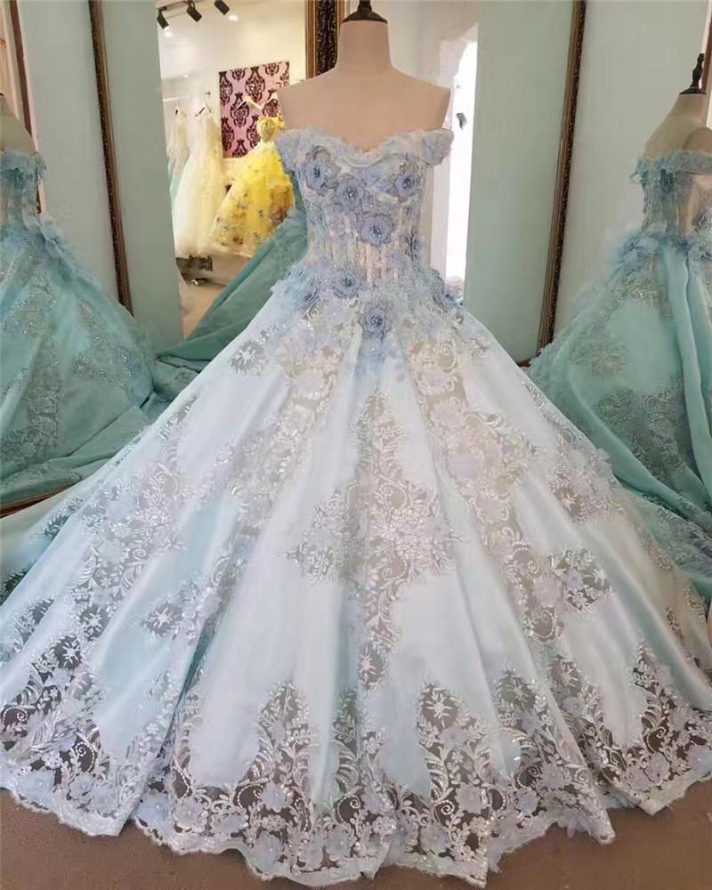 Venta al por mayor vestidos de novia en color azul-Compre online los ...