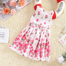 Toddlers Kids Girls Sleeveless Dress Floral Bow Party Dress Sundress Casual Children Clothes