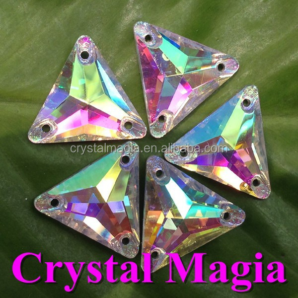 16mm AB color Triangle crystal sew on stones flat back glass strass