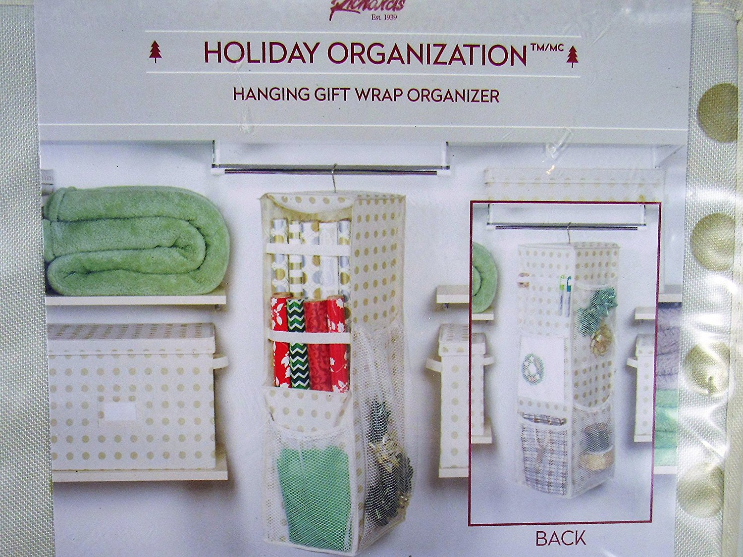 get quotations richards holiday christmas hanging gift wrap organizer holds up to 25 paper rolls