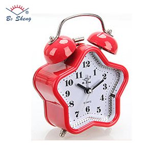 Star Shaped Candy Color Body/Twin Metal Bell Mechanical Table Clock Mini Travel World Time Clock Logo Customized (2853)