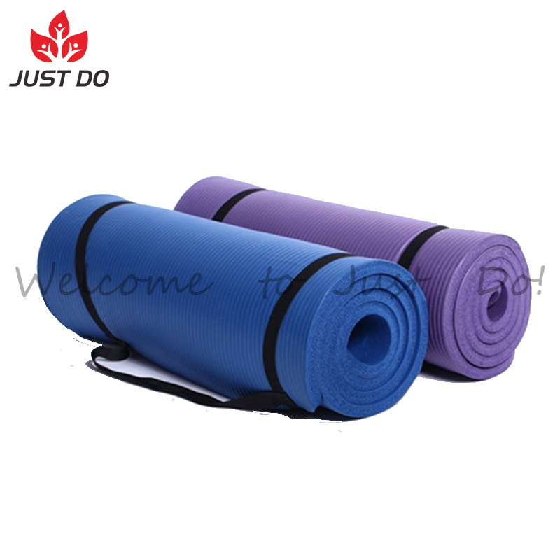 10mm Thick NBR Non-slip Exercise Fitness Yoga Mat with carry strap