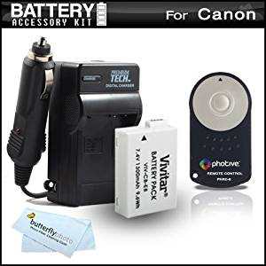 Battery And Charger + Wireless Shutter Release Kit For Canon EOS Rebel T2i, T3i DSLR Camera Includes Replacement (1300mAH) Battery For Canon LP-E8 + Wireless Shutter Release Remote Control + More