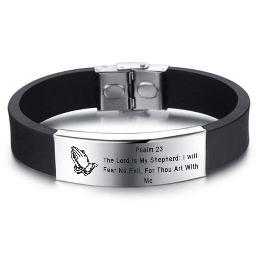 LiFashion LF Mens Stainless Steel Silicone Praying Hands Serenity Prayer Psalm 23 Bible Verse Bracelet Rubber Scripture Quote Wristband Christian Jewelry for Boyfriend Husband Son Dad Gift