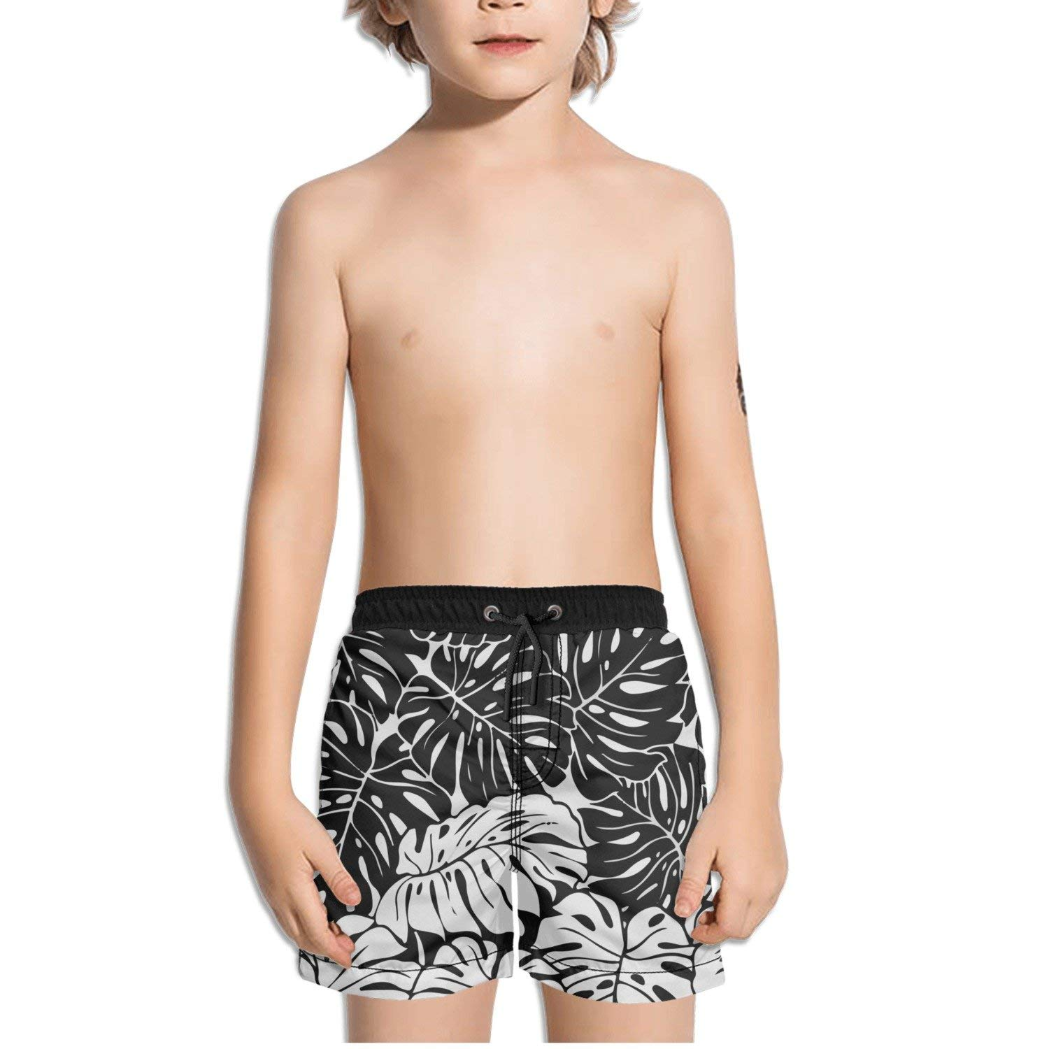 843a5f483d Get Quotations · FullBo Black and Grey Tropical Leaf Little Boy's Short  Swim Trunks Quick Dry Beach Shorts