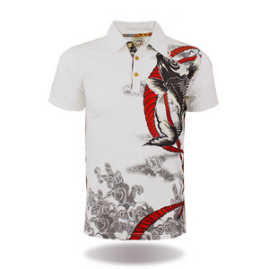Factory garments printing fish bling polo t shirts wholesale