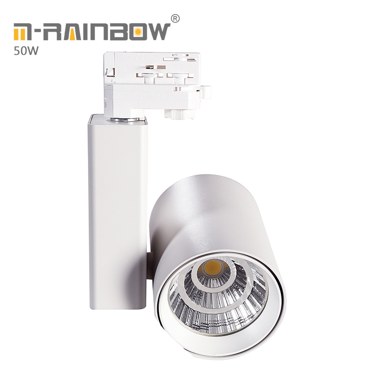 all-ways rotatable Shopping mall 40w 60w led focus guide rail lighting 3phase 50w led track light cob <strong>spotlights</strong>
