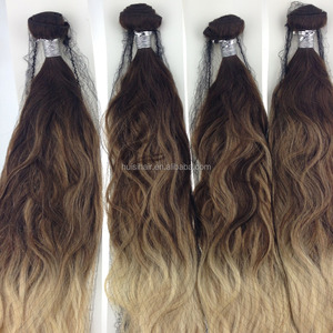 Qingdao huisihair name brands new trendy ombre hair in 2017 balayage color weave hair royal silk extension