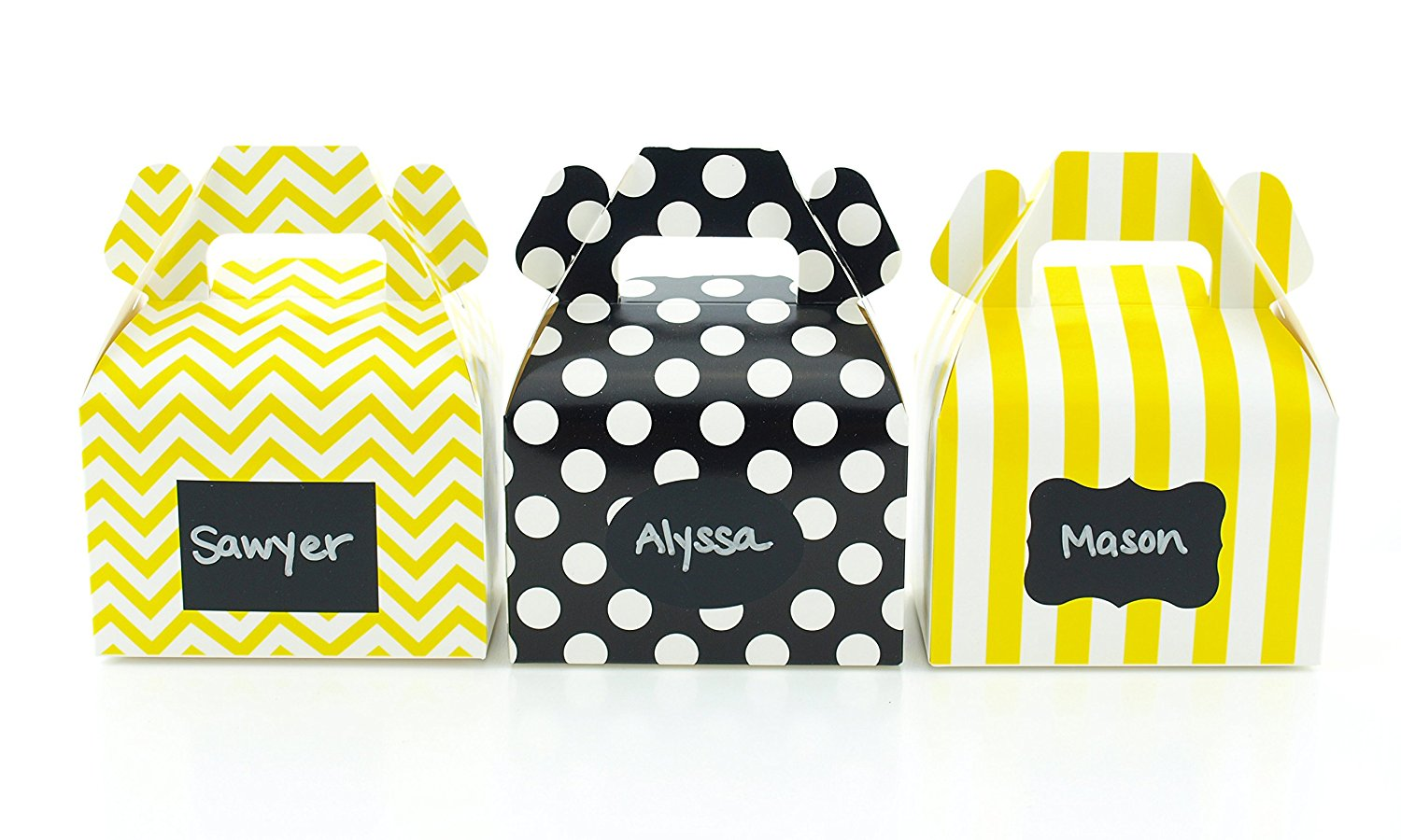 Bumblebee Party Favor Boxes & Black Label Chalkboard Vinyl Stickers (36 Pack) - Yellow & Black Bumble Bee Party Decorations, Birthday Favor Candy Boxes, Honey Bee Party Supplies