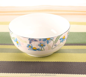 Super white porcelain gold plated bowl