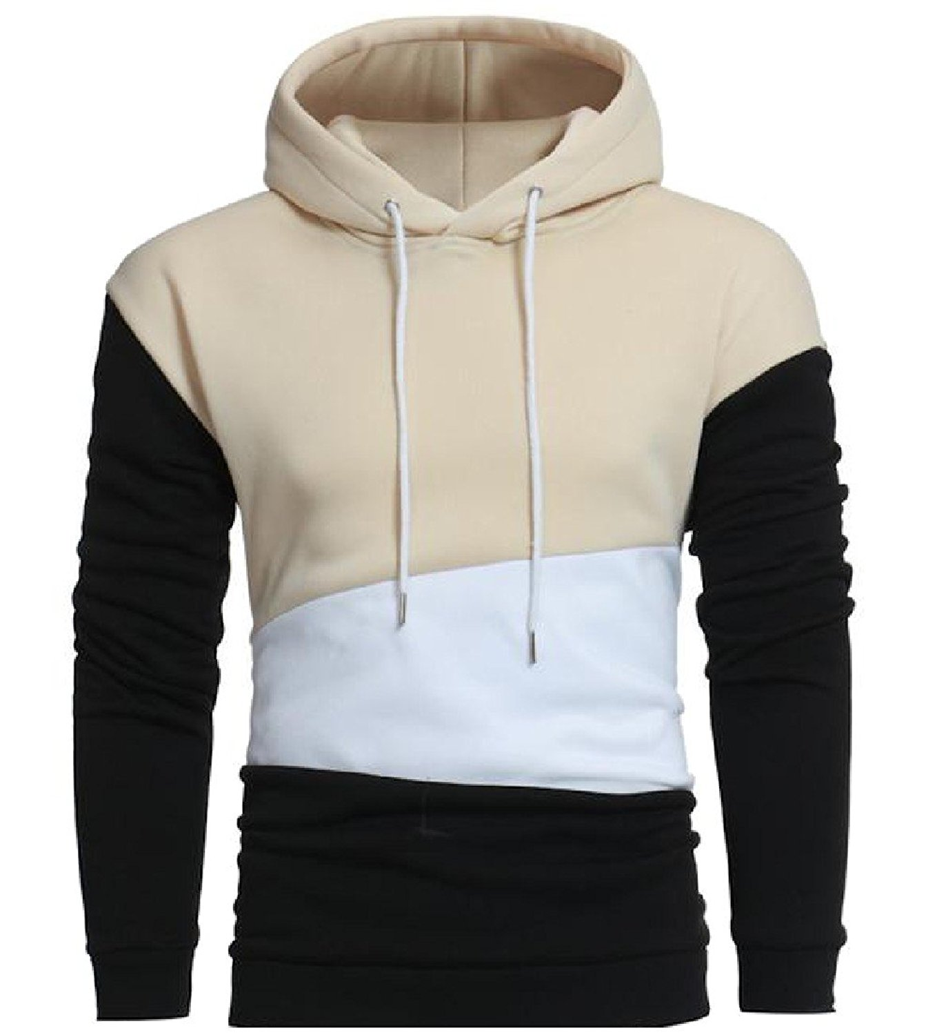 Coolred Mens Long Sleeve Conjoin Color Hooded Hoodies Pullover Coat