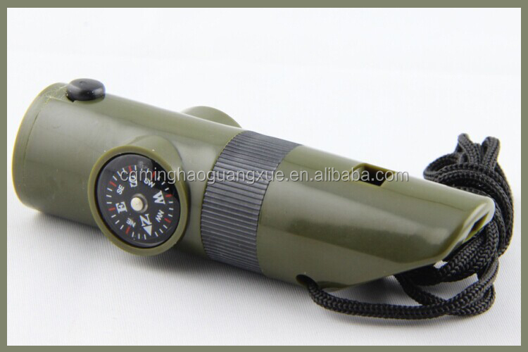 H7-1, survival tools 7 in 1 ABS military whistle with Compass