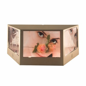 "21.5"" Three face LCD transparent advertising display box with Multi angle display"