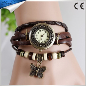 Watches Women Top Brand Luxury Multi-Layer PU Leather Beads Butterfly Wrist Watch Vintage Bracelet Ladies Dress Watch VW009