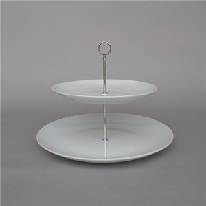 Ceramic party cake plate, silver plated cake stand