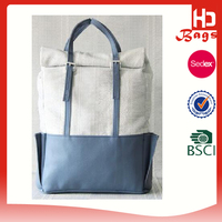 China offer designer white stylish canvas leather backpack