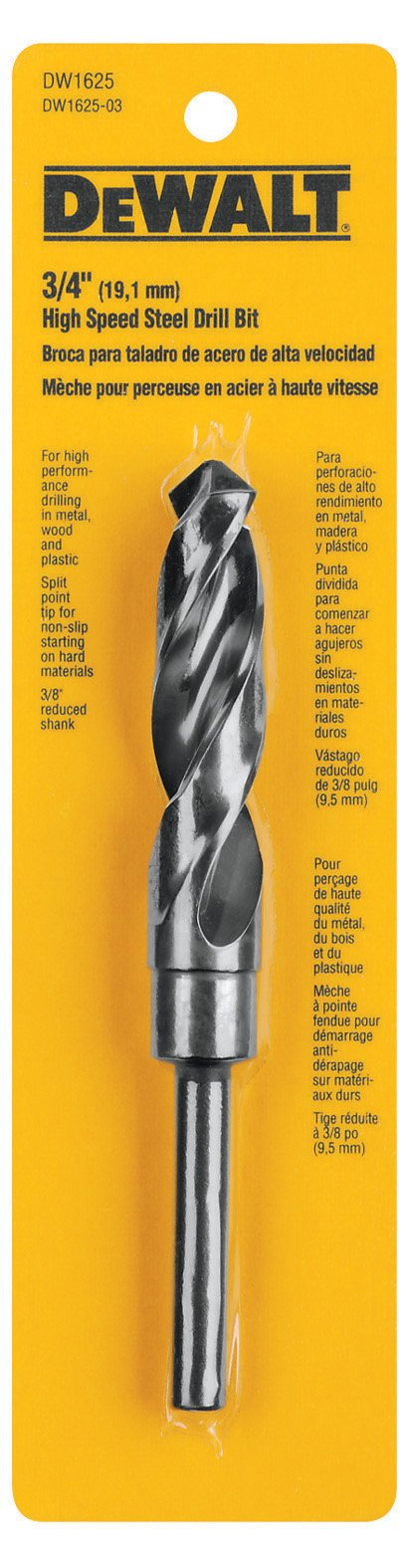 DEWALT DW1625 3/4-Inch Black Oxide 3/8-Inch Shank Reduced Shank Twist Drill Bit