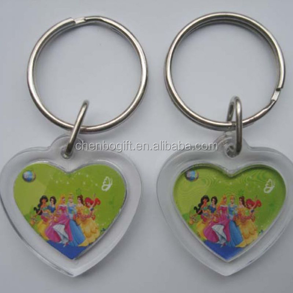 Top quality hot sale photo frame key chain, clear plastics clear acrylic photo keychain