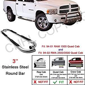 Spec-D Tuning SSB3-RAM94QCBK-WB Dodge Ram 1500 2500 3500 Quad Club Cab 3 Stainless Side Step Nerf Bar