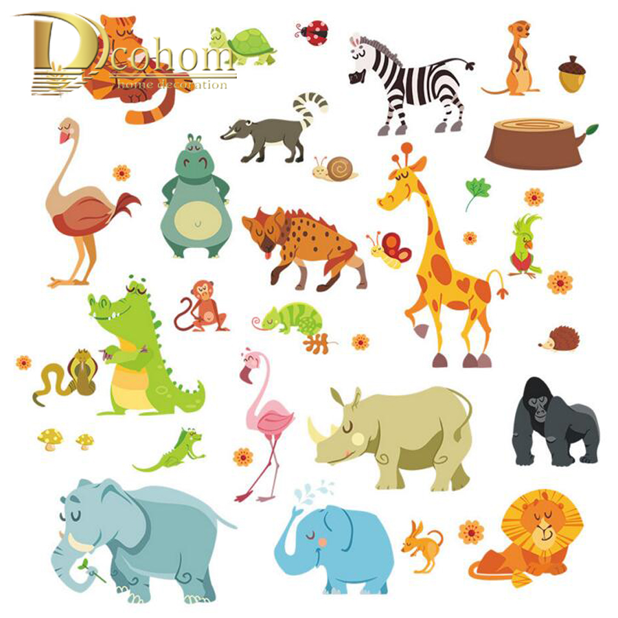 Lovely Zoo Animal <font><b>Elegant</b></font> Lion Squirrel 3D Wall Sticker <font><b>Home</b></font> Decoration Diy Removable Sticker For Kids Room Bedroom Vinyl <font><b>Decor</b></font>