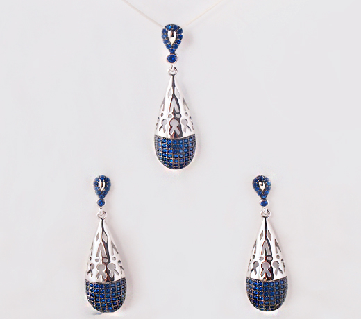 Fashion blue Atomic pendant jewelry set