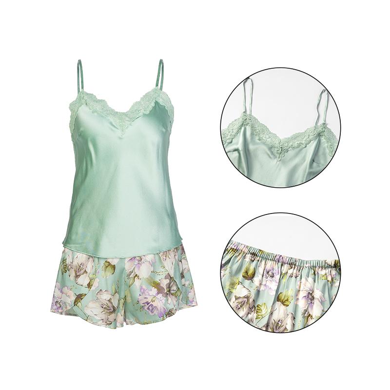 Fresh Mint Green Satin Sleepwear Sexy Nighty Lace Short Silk Pajamas Women Set