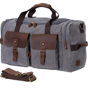 Mens Canvas Travel Duffle Bag with Shoes Compartment